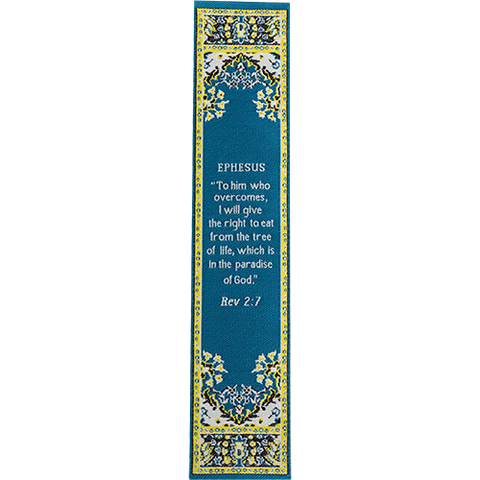 End Times, Seven Churches, Woven Fabric Christian Bookmark, Ephesus, Signs of the End Times, Promises of the Seven Churches of Revelations, Silky Soft Revelations 2:7 Bookmarker for Novels Books and Bibles