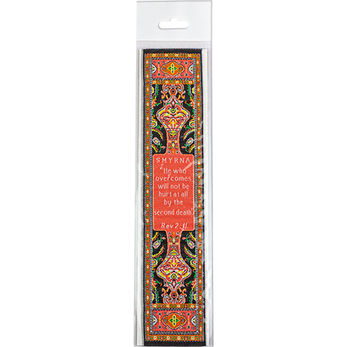 End Times, Seven churches, Woven Fabric Christian Bookmark, Smyrna, Signs of the End Times, Promises of the Seven Churches of Revelations, Silky Soft Revelations 2:11 Bookmarker for Novels Books and Bibles