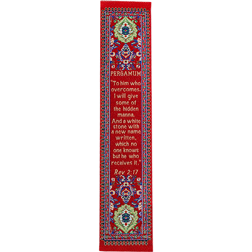 Woven Fabric Christian Bookmark: Promises of the Seven Churches of Revelations - Revelations 2:17