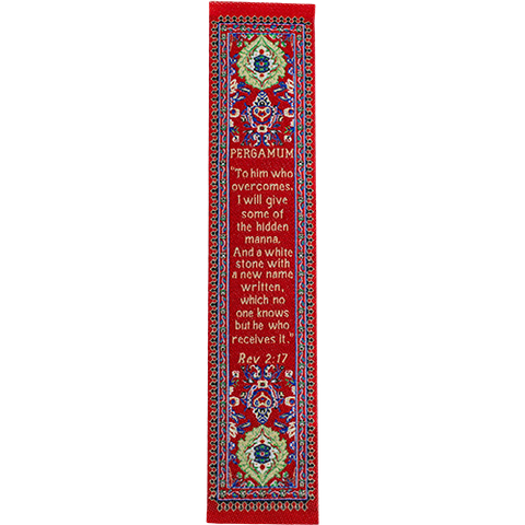 End Times, Seven Churches, Woven Fabric Christian Bookmark, Pergamum, Signs of the End Times, Promises of the Seven Churches of Revelations, Silky Soft Revelations 2:17 Bookmarker for Novels Books and Bibles