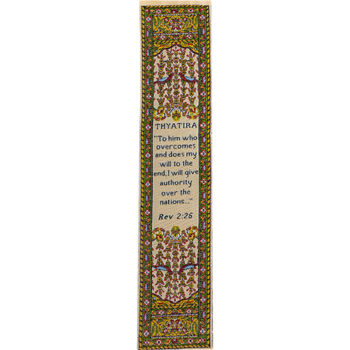 Woven Fabric Christian Bookmark: Thyatira Promises of the Seven Churches of Revelations - Revelations 2:26