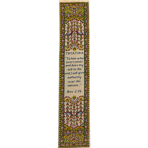 End Times, Seven Churches, Woven Fabric Christian Bookmark, Thyatira, Signs of the End Times, Promises of the Seven Churches of Revelations, Silky Soft Revelations 2:26 Bookmarker for Novels Books and Bibles