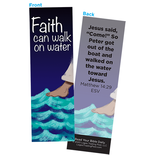 Children and Youth Bookmark, Faith Can Walk on Water, Matthew 14:29, Pack of 25, Handouts for Classroom, Sunday School, and Bible Study
