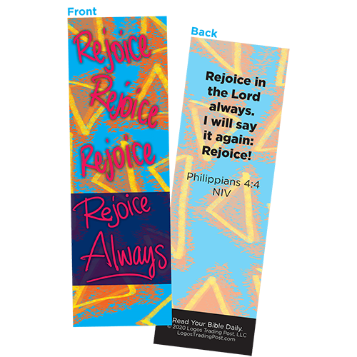 Children and Youth Bookmark, Rejoice Always, Philippians 4:4, Pack of 25, Handouts for Classroom, Sunday School, and Bible Study