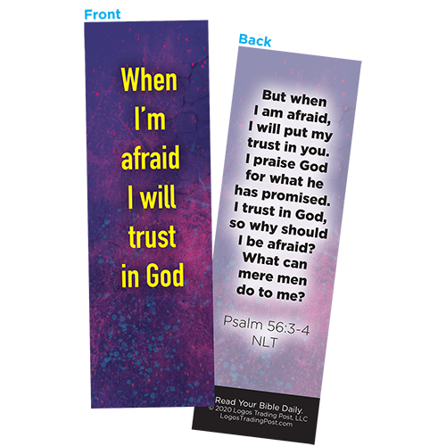 Children and Youth Bookmark, When I'm afraid I will Trust in God, Psalm 56:3-4, Pack of 25, Handouts for Classroom, Sunday School, and Bible Study