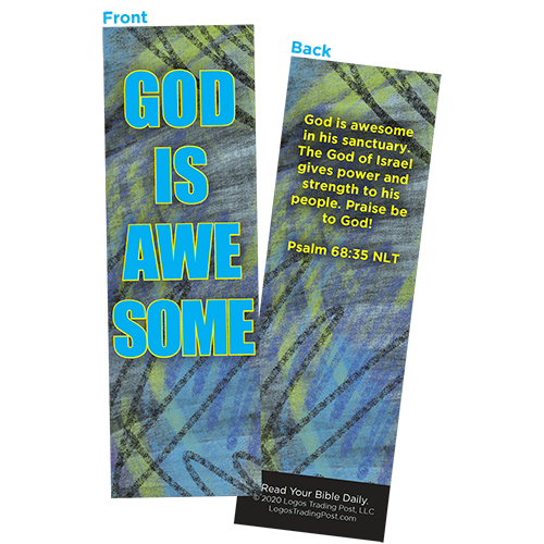 Children and Youth Bookmark, God is Awesome, Psalm 68:35, Pack of 25, Handouts for Classroom, Sunday School, and Bible Study
