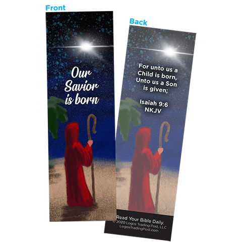 Children and Youth Bookmark, Christmas, Our Savior is Born, Isaiah 9:6, Pack of 25, Handouts for Classroom, Sunday School, and Bible Study