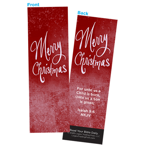 Children and Youth Bookmark, Merry Christmas, Isaiah 9:6, Pack of 25, Handouts for Classroom, Sunday School, and Bible Study