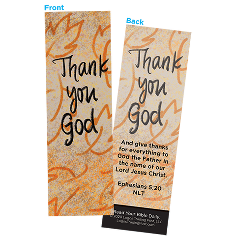 Children and Youth Bookmark, Thanksgiving, Thank You God, Ephesians 5:20, Pack of 25, Handouts for Classroom, Sunday School, and Bible Study