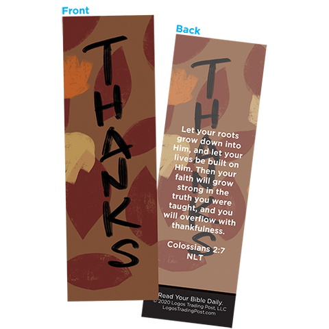 Children and Youth Bookmark, Thanksgiving, Thanks, Colossians 2:7, Pack of 25, Handouts for Classroom, Sunday School, and Bible Study