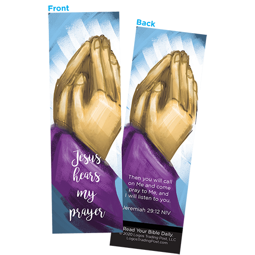 Children and Youth Bookmark, Jesus Hears My Prayer, Jeremiah 29:12, Pack of 25, Handouts for Classroom, Sunday School, and Bible Study