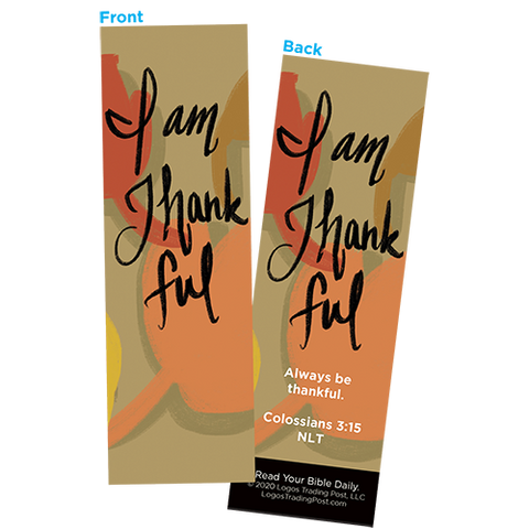 Children and Youth Bookmark, Thanksgiving, I Am Thankful, Colossians 3:15, Pack of 25, Handouts for Classroom, Sunday School, and Bible Study