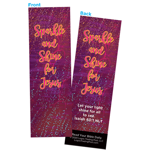 Children and Youth Bookmark, Sparkle and Shine for Jesus, Isaiah 60:1, Pack of 25, Handouts for Classroom, Sunday School, and Bible Study