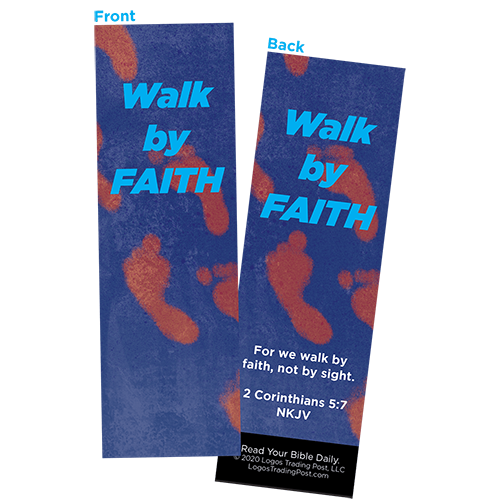 Children and Youth Bookmark, Walk by Faith, 2 Corinthians 5:7, Pack of 25, Handouts for Classroom, Sunday School, and Bible Study