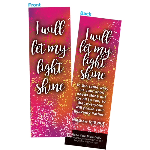 Children and Youth Bookmark, I Will Let My Light Shine, Matthew 5:16, Pack of 25, Handouts for Classroom, Sunday School, and Bible Study