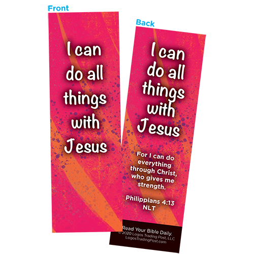 Children and Youth Bookmark, I Can Do All Things With Jesus, Philippians 4:13, Pack of 25, Handouts for Classroom, Sunday School, and Bible Study