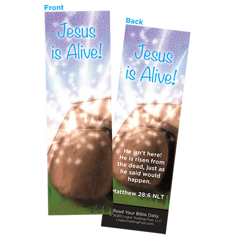 Children and Youth Bookmark, Easter, Jesus is Alive (Empty Tomb), Matthew 28:6, Pack of 25, Handouts for Classroom, Sunday School, and Bible Study