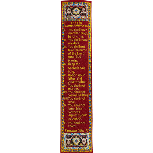 The Ten Commandments, Woven Fabric Christian Bookmark, Exodus 20:1-17,  Traditional Turkish Woven Design, Flexible Memory Verse Bookmark Gift
