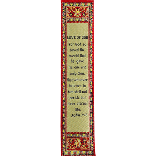 For God so Loved the World, Woven Fabric Christian Bookmark, Love of God, Silky Soft John 3:16 Bookmarker for Novels Books and Bibles, Traditional Turkish Design, Flexible Memory Verse Bookmark Gift