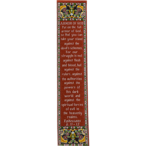 Armor of God, Woven Fabric Christian Bookmark,  Silky Soft Ephesians 6:11-12 Bookmarker for Novels Books and Bibles, Traditional Turkish Woven Design, Flexible Memory Verse Bookmark Gift