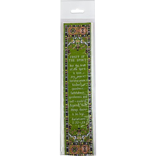 Fruit of the Spirit, Woven Fabric Christian Bookmark, Silky Soft Galatians 5:22-23 Bookmarker for Novels Books and Bibles, Traditional Turkish Woven Design, Flexible Memory Verse Bookmark Gift