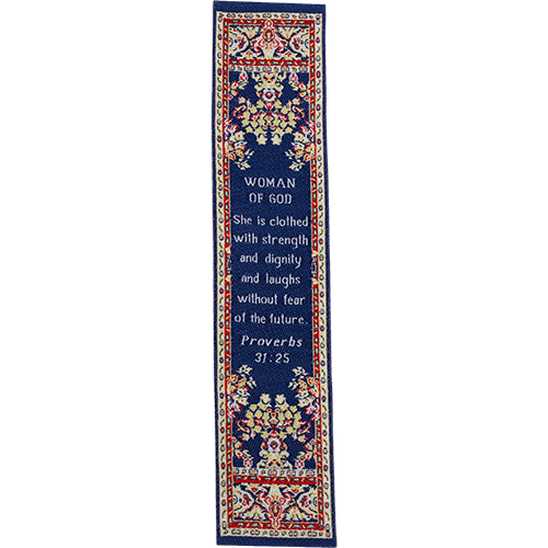 Woman of God, Woven Fabric Christian Bookmark, Strength and Dignity, Silky Soft Proverbs 31:25 Bookmarker for Novels Books and Bibles, Traditional Turkish Design, Flexible Memory Verse Bookmark Gift