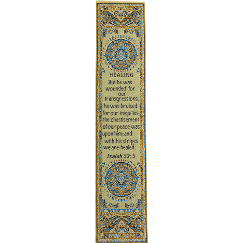 By His Stripes We Are Healed, Woven Fabric Christian Bookmark, Silky Soft Isaiah 53:5 Bookmarker for Novels Books and Bibles, Traditional Turkish Woven Design, Flexible Memory Verse Bookmark Gift