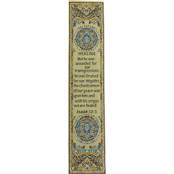 By His Stripes We Are Healed - Woven Fabric Christian Bookmark - Isaiah 53:5