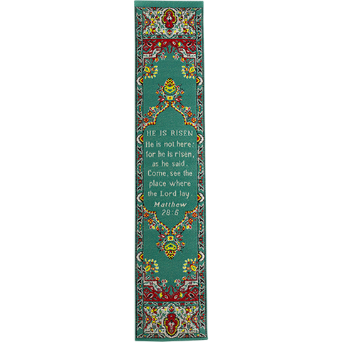 He is Risen, Woven Fabric Christian Bookmark, God's Not Dead, Silky Soft Matthew 28:5 Bookmarker for Novels Books and Bibles, Traditional Turkish Woven Design, Flexible Memory Verse Bookmark Gift