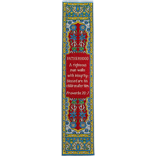 Father Bookmark, Woven Fabric Christian Bookmark, Fatherhood & Integrity, Silky Soft Proverbs 20:7 Bookmarker for Novels Books and Bibles, Traditional Turkish Woven Design, Flexible Memory Verse Bookmark Gift for Dad