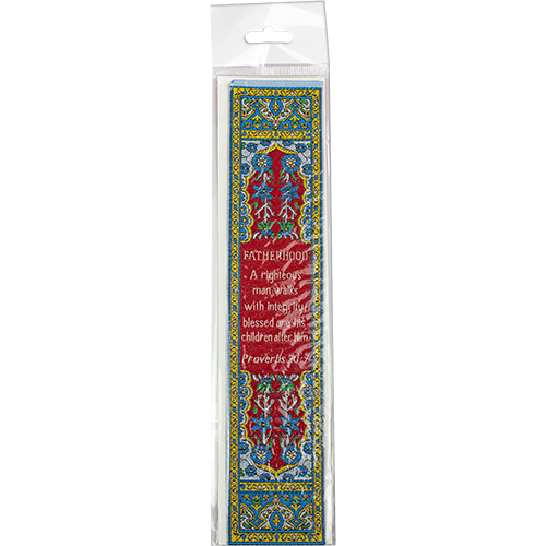 Woven Fabric Christian Bookmark for Dad - Proverbs 20:7