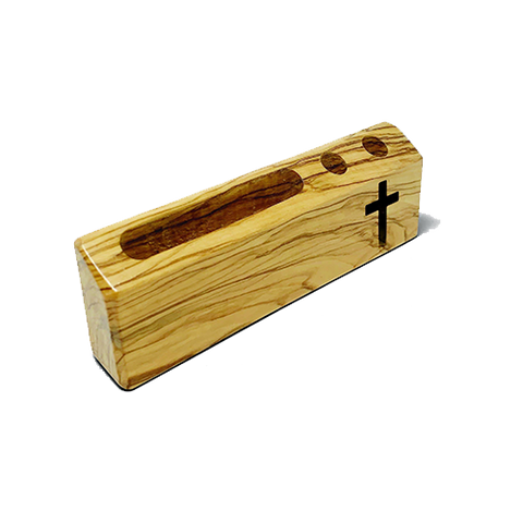 Holy Land Olive Wood Business Card and Pen Holder