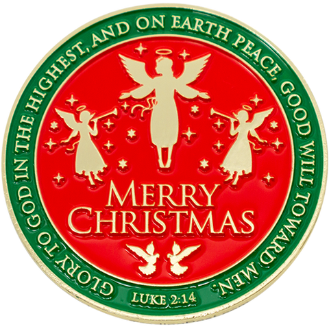 "Front: Angels, with text, ""Merry Christmas"" / ""Glory to God in the highest, and on earth peace, goodwill toward men. Luke 2:14"""