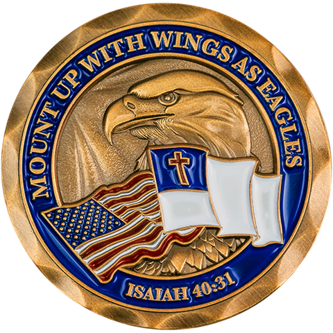 "Front: Bald Eagle with American flag and Christian flag, with text, ""Mount up with wings as eagles"" / ""Isaiah 40:31"""