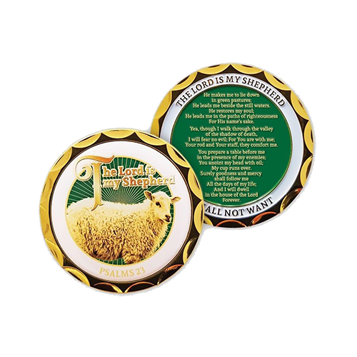 Front and back of The Lord is my Shepherd Gold Plated Christian Challenge Coin