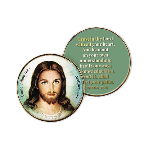 Sacred Heart of Jesus, Christian Challenge Coin, Trust in the Lord, Proverbs 3:5-6