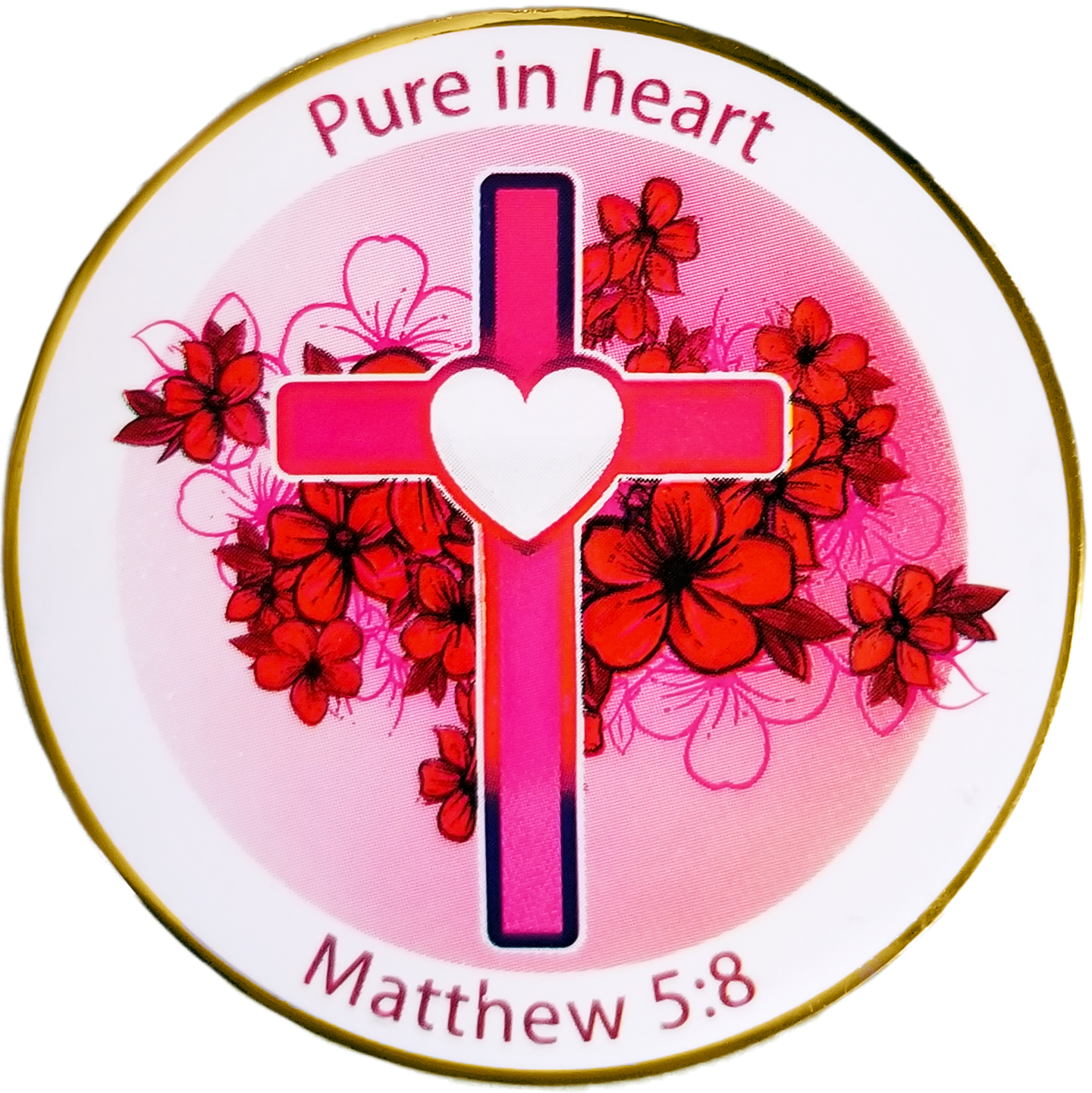 "Front: Pink Heart Cross and flowers, with text, ""Pure in heart"" / ""Matthew 5:8"""