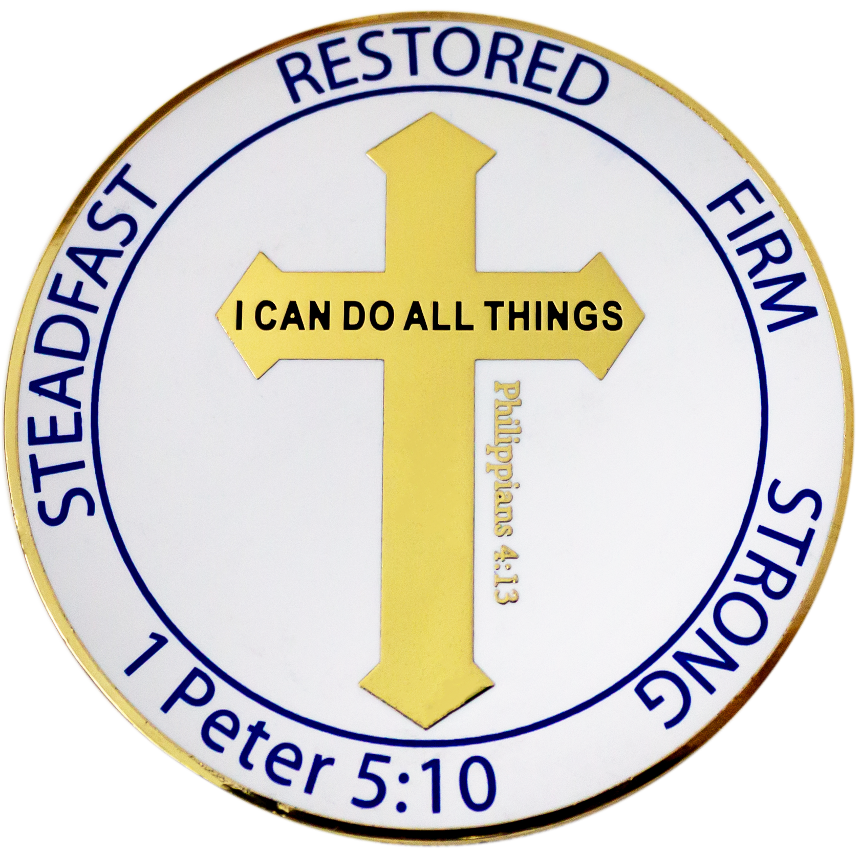 "Gold Plated Challenge Coin - For Men and Boys ""I Can Do All Things"" Philippians 4:13, Overcomers, ""Steadfast, Restored, Firm, Strong"" Sentiment, Overcoming the World"