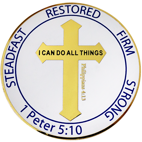 "Front: Cross, with text, ""Restored"" / ""Firm"" / ""Strong"" / ""1 Peter 5:10"" / ""Steadfast"" / ""I can do all things through Christ who strengthens me"" / ""Philippians 4:13"""