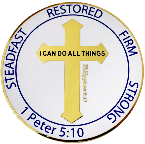 "Gold Plated Challenge Coin - For Men and Boys ""I Can Do All Things"" Philippians 4:13, Overcomers,"