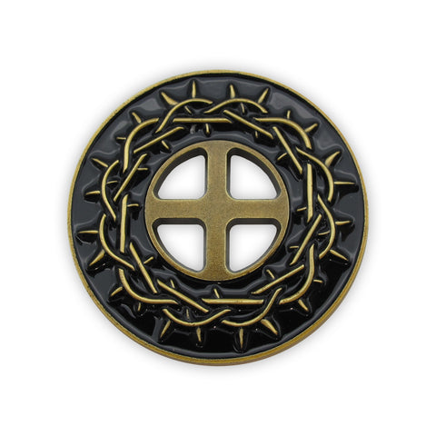 Antique Gold Plated Challenge Coin - Crown of Thorns, By His Stripes We Are Healed, Isaiah 53:5 Gift