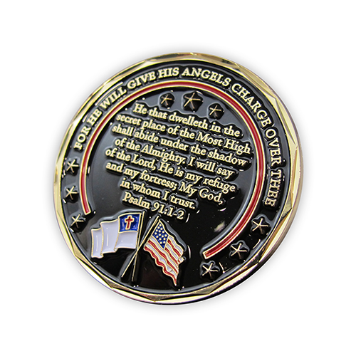 Firefighter Appreciation Gold Plated Challenge Coin back slightly tilted