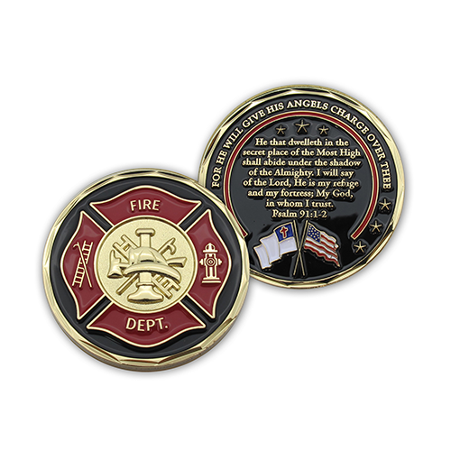 Front and back of Firefighter Appreciation Gold Plated Challenge Coin