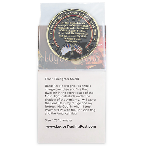 back of Firefighter Appreciation Gold Plated Challenge Coin in packaging
