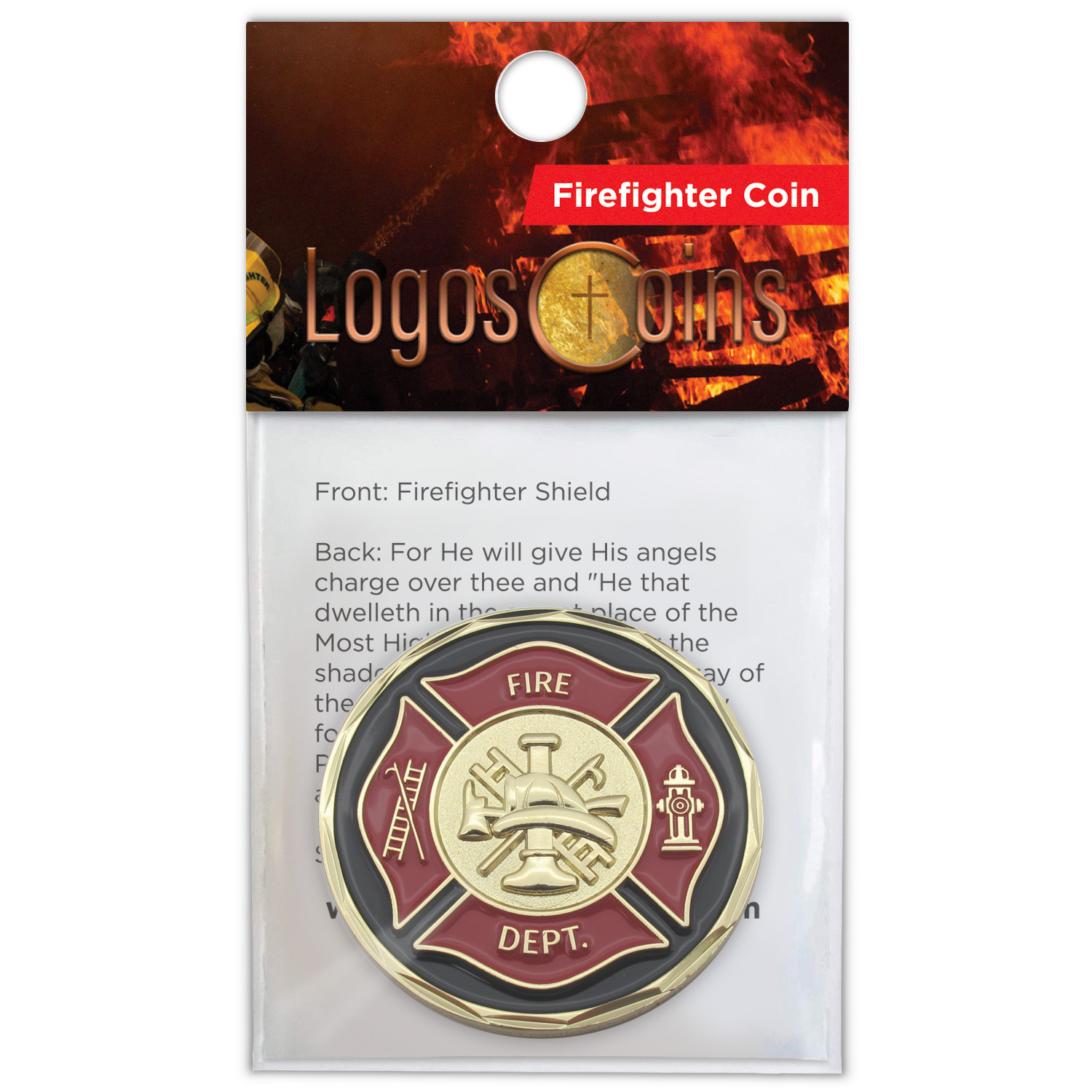 Front Firefighter Appreciation Gold Plated Challenge Coin in packaging