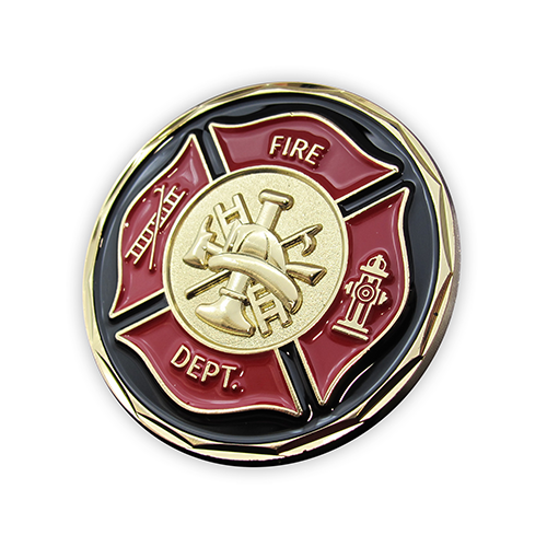 Firefighter Appreciation Gold Plated Challenge Coin front slightly tilted