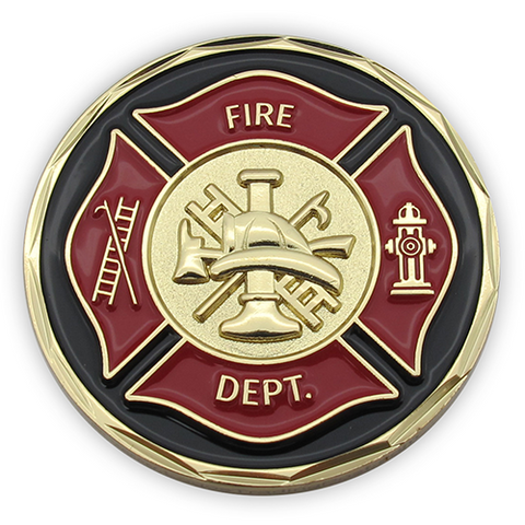 Front: firefighter shield and seal
