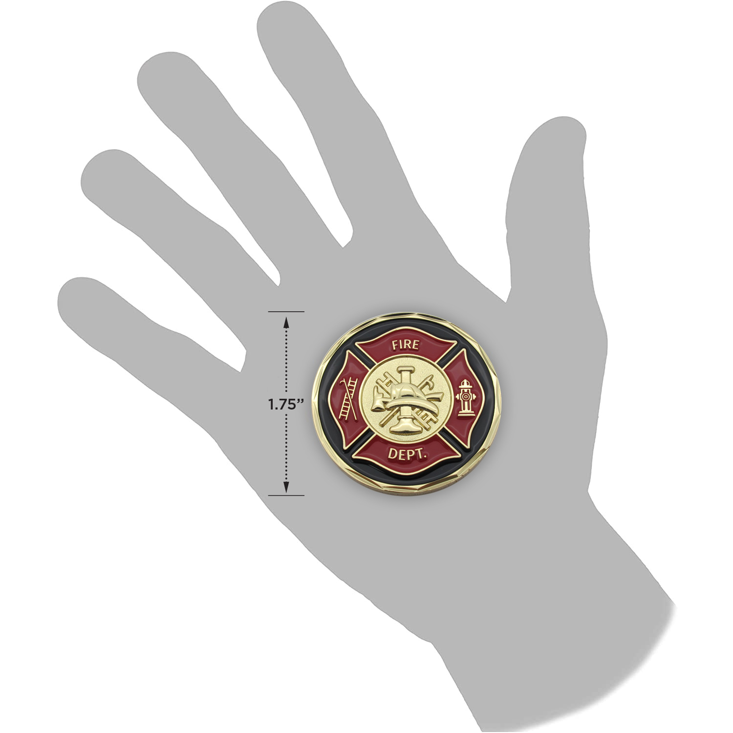 Firefighter Appreciation Gold Plated Challenge Coin in a hand for size reference