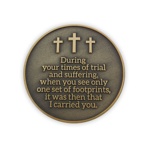 Antique Gold Plated Challenge Coin - Footprints in the Sand, Resting and Peace, During Your Times of Trial and Suffering, I Carried You. I Will Give You Rest, Matthew 11:28 Gift