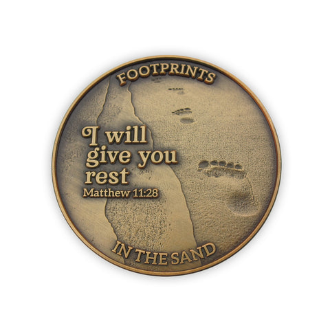 "Front: Line of footprints, with text ""Footprints in The Sand"" / ""I will give you rest. Matthew 11:28"""